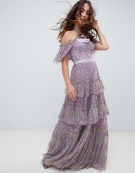 Needle & Thread embroidered lace cold shoulder maxi gown in lavender - Purple