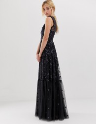 Needle & Thread embroidered lace maxi gown with high neck in graphite - Black