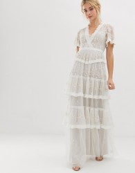 Needle & Thread embroidered lace tiered maxi dress in ivory - White