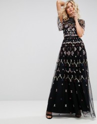 Needle & Thread Embroidered Maxi Dress - Black