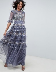 Needle & Thread embroidered maxi gown in vintage navy - Blue