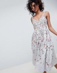 Needle & Thread embroidered prom midi dress in vintage blue - Blue