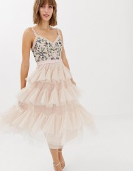 Needle & Thread embroidered tiered tulle midi dress in rose - Pink