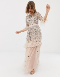 Needle & Thread embroidered tulle gown in rose - Pink