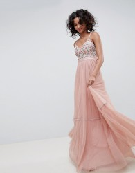 Needle & Thread embroidered tulle maxi dress with cami straps in vintage rose - Pink