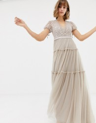 Needle & Thread embroidered tulle maxi dress with cap sleeve in rose - Pink