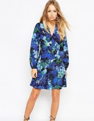 Needle & Thread Enchanted Floral Print Skater Dress With Bell Sleeve - Multi
