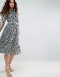 Needle & Thread Floral Embellished Long Sleeve Dress with Tie Neck - Blue