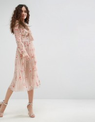 Needle & Thread Floral Embellished Long Sleeve Dress with Tie Neck - Pink