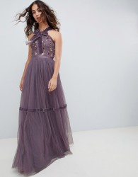 Needle & Thread high neck embroidered maxi gown in purple - Purple