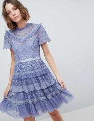 Needle & Thread High Neck Layered Mini Dress - Purple