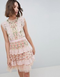 Needle & Thread High Neck Layered Mini Dress With Embroidery - Pink