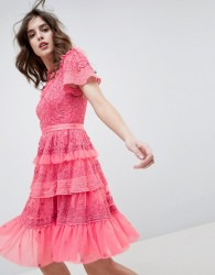 Needle & Thread high neck layered mini dress with ruffle sleeves in hot pink - Pink