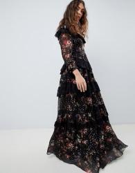 Needle & Thread high neck maxi gown in multi print - Multi