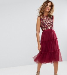 Needle & Thread High Neck Midi Tulle Dress with Embroidery and Embellishment - Red