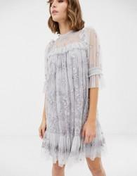 Needle & Thread lace high neck mini dress in dusk blue - Blue