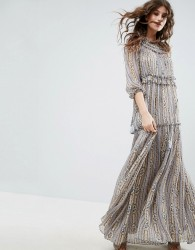 Needle & Thread Lace Maxi Dress With Ruffle Neck - Grey