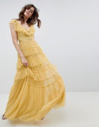 Needle & Thread layered maxi dress with ruffle neck detail in sunflower - Yellow
