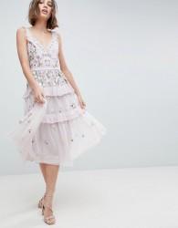 Needle & Thread Layered Midi Dress With Embellishment - Purple
