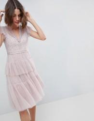 Needle & Thread Layered Midi Dress With Lace Detail - Purple