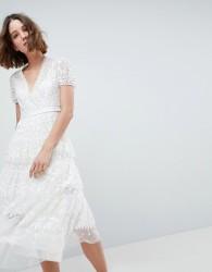 Needle & Thread Layered Midi Dress With Tie Waist - White