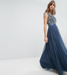 Needle & Thread Maxi Dress with Embroidery and Tulle Skirt - Blue