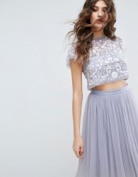 Needle & Thread Meadow Embroidered Tulle Cropped Top - Blue