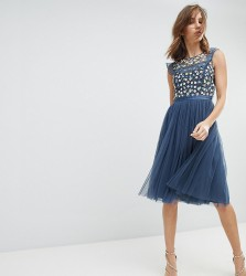 Needle & Thread Midi Dress with Embroidery and Tulle Skirt - Blue