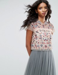 Needle & Thread Posy Embroidered Crop Top - Pink