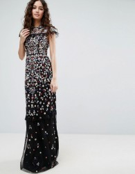 Needle & Thread Posy Embroidered Gown - Black