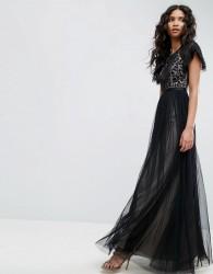 Needle & Thread Primrose Lace Bodice Gown - Black