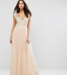 Needle & Thread Swan Tulle Maxi Dress With Frill Sleeve - Pink