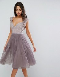 Needle & Thread Swan Tulle Midi Dress With Frill Sleeve - Purple