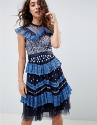 Needle & Thread tiered lace embroidered midi dress in navy - Navy