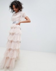 Needle & Thread tiered maxi gown with waistband in rose - Pink