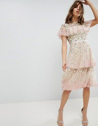 Needle & Thread Tiered Midi Dress with Embroidery and Lace Detail - Pink
