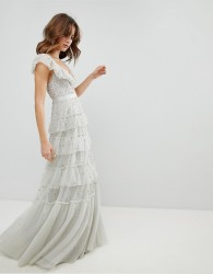 Needle & Thread Tiered Scattered Sequin Gown - Blue