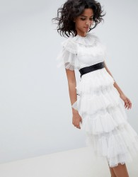 Needle & Thread tiered tulle midi dress in pearl - White