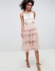 Needle & Thread tiered tulle midi skirt in rose - Pink
