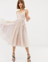 Needle & Thread tulle cami skater dress in rose - Pink