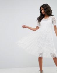 Needle & Thread Tulle Embroidery Dress - Cream