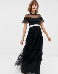 Needle & Thread tulle maxi gown with shirring detail in black - Black