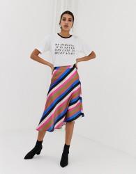 Neon Rose asymmetric midi skirt in luxe stripe - Multi