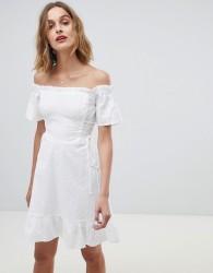 Neon Rose bardot dress in broderie - White