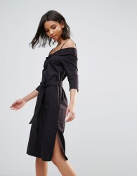 Neon Rose Black Cotton Off The Shoulder Bardot Midi Dress - Black