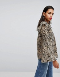 Neon Rose Blouse Will Bell Sleeves In Leopard - Multi