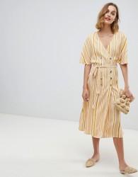 Neon Rose button front midi dress in vintage stripe - Yellow