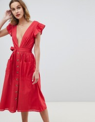 Neon Rose button front midi dress with flutter sleeves - Red