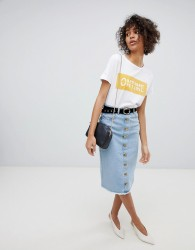 Neon Rose Button Front Midi Skirt In Denim - Blue