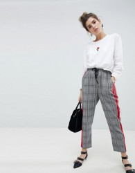 Neon Rose Cigarette Trousers With Sports Stripe In Prince Of Wales Check - Grey
